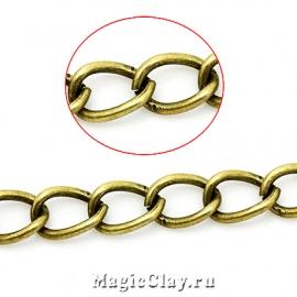 Цепочка Панцирная звенья, 8х5мм, цвет античная бронза