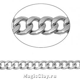 Цепочка Панцирная, звенья 7х6мм, цвет серебро стальное, 1м