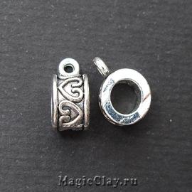 Бейл Сердце 12х9мм, цвет серебро, 1шт