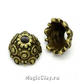 Шапочка для бусины Божоле 11мм, цвет античная бронза, 6шт