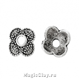 Шапочка для бусины Амариллис 9мм, цвет серебро, 10шт