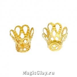 Шапочка для бусины Ажур Корона 9х7мм, цвет золото, 20шт