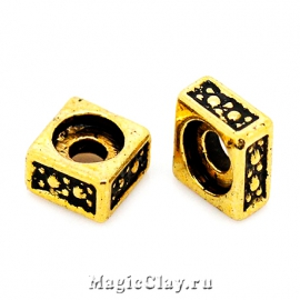 Рондели Квадрат 5х5мм, цвет золото, 10шт