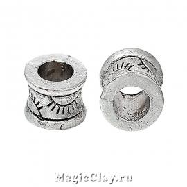 Бусина Глаз 6х4мм, цвет серебро, 10шт