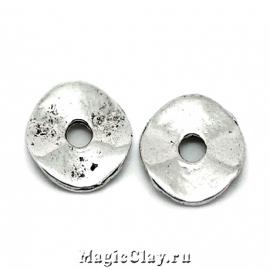 Рондели Пластинка 9мм, цвет серебро, 10шт