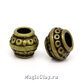 Бусина Круги 9х7мм, цвет античная бронза, 1шт