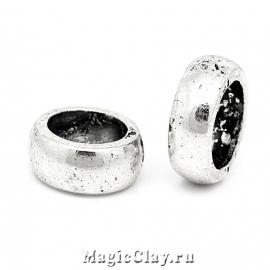 Бусина Кольцо 11мм, цвет серебро, 5шт
