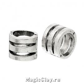 Бусина Камелот 11х8мм, цвет серебро, 1шт