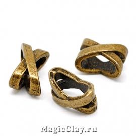 Бусина Икс 10х7мм, цвет античная бронза, 1шт
