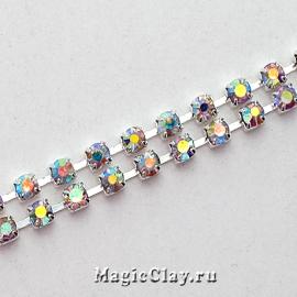 Цепочка со стразами 2,2мм Прозрачный AB, цвет серебро, 1м