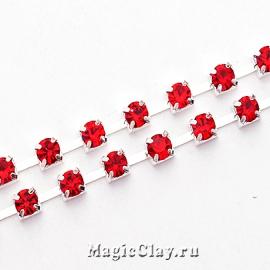 Цепочка со стразами 3,5мм Красный, цвет серебро, 1м