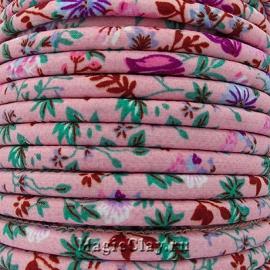 Шнур текстильный 7х5мм Розовый Пион, 1 метр