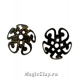 Шапочка для бусины Аралия 10мм, цвет античная бронза, 20шт