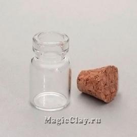 Бутылочка стеклянная с пробкой Алхимик 18х12мм