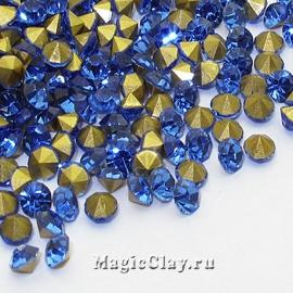 Стразы конусные для бижутерии SS12, цвет Голубой