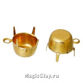 Держатели-цапы для страз, Подвеска 6мм, цвет золото, 1 уп.