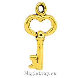 Подвеска Ключик Золотой 16х9мм, цвет золото, 10шт
