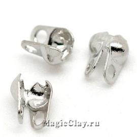 Концевики для цепочек с шариками 2.4мм, цвет серебро стальное, 1уп (~50шт)