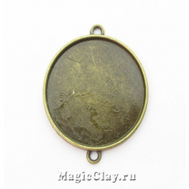 Коннектор-Основа Круг Фронталь 37х32мм, цвет античная бронза, 1шт