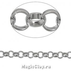 Цепочка Ролло, звенья 8мм, цвет серебро стальное, 1м