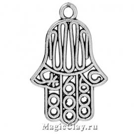 Подвеска Рука Хамсы 26х18мм, цвет серебро, 1шт