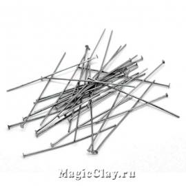 Пины гвоздики, цвет черная сталь 50х0,8мм, 1уп (500шт)