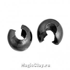 Зажимные маскирующие бусины, 3мм, цвет черная сталь, 1уп (~30шт)