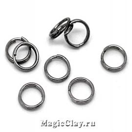 Колечки двойные, цвет черная сталь 6мм, 1уп (~200шт)