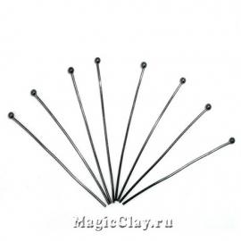 Пины с шариком, цвет черная сталь 40х0,7мм, 1уп (300шт)