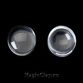 Кабошон Прозрачное стекло Круг 8мм, 30шт
