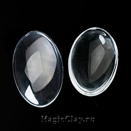Кабошон Прозрачное стекло Овал 20х15мм, 10шт