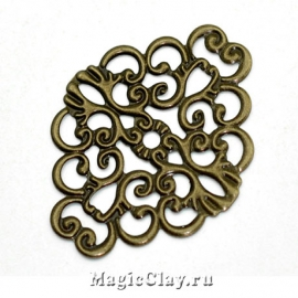 Филигрань Прованс 37х30мм, цвет античная бронза, 5шт