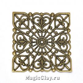 Филигрань Ажурный Квадрат 40мм, цвет бронза, 5шт