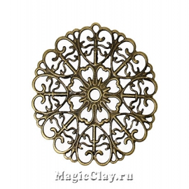 Филигрань Ажурный Цветок 52х51мм, цвет бронза, 5шт