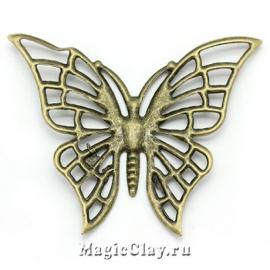 Филигрань Бабочка Махаон 61х47мм, античная бронза, 1шт