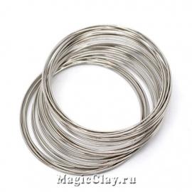 Проволока Мемори для серег 40х0,6мм, серебро, 10 витков