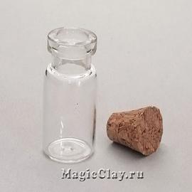 Бутылочка стеклянная с пробкой Алхимик 24х12мм