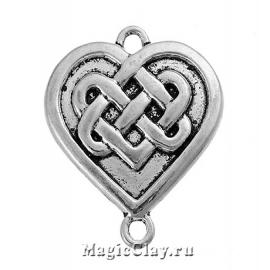 Коннектор Кельтское Сердце 28х24мм, цвет серебро, 1шт