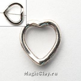 Бусина Разделитель Сердце 11х13мм, цвет серебро, 1шт