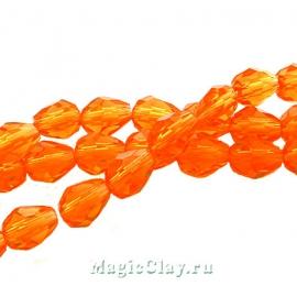 Бусины Капля Оранжевая Осень 6x4мм, 1нить (~35шт)
