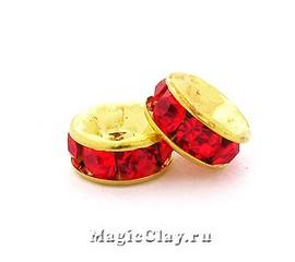 Рондели со стразами 6мм Красный, цвет золото, 10шт