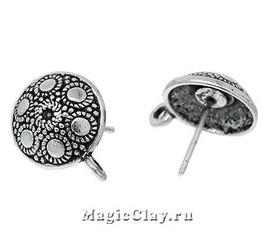 Швензы гвоздики Античный Узор, цвет серебро