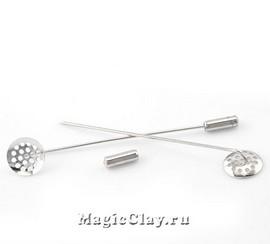 Булавка Круг Сито 69х12мм, цвет серебро, 1шт