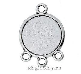 Коннектор-Основа Трио 28х20мм, цвет серебро, 1шт