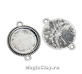 Коннектор-Основа Круг Резная Рамка 32х24мм, цвет серебро, 1шт