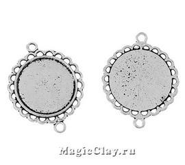 Коннектор-Основа Ромашка 34х26мм, цвет серебро, 1шт
