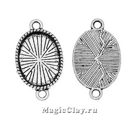 Коннектор-Основа Овал Резной Кант 27х16мм, цвет серебро, 1шт