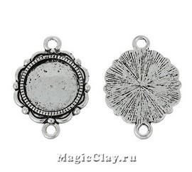 Коннектор-Основа Цветок 27х19мм, цвет серебро, 1шт