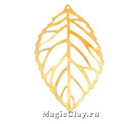 Подвеска Листок Ажурный 54х22мм, цвет золото, 10шт