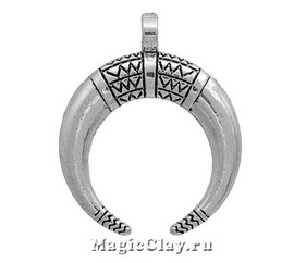 Подвеска Рог Большой 34х28мм, цвет серебро, 1шт